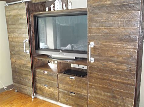 Rustic Barnwood Media Center With Sliding Barn Doors On Barn Door Media Center