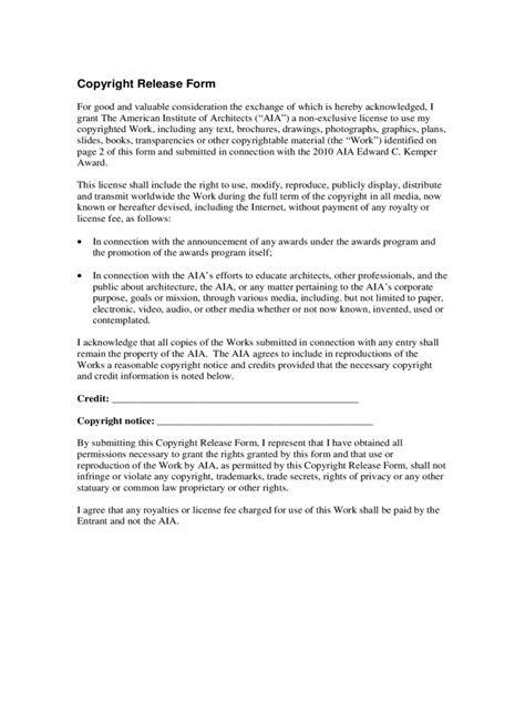 copyright release form copyright release form 2 free templates in pdf word