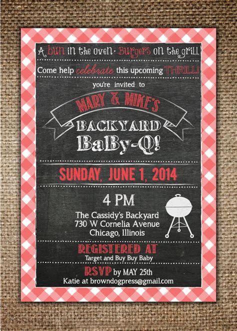 backyard baby shower invitations baby shower invitation baby bbq backyard baby q with red