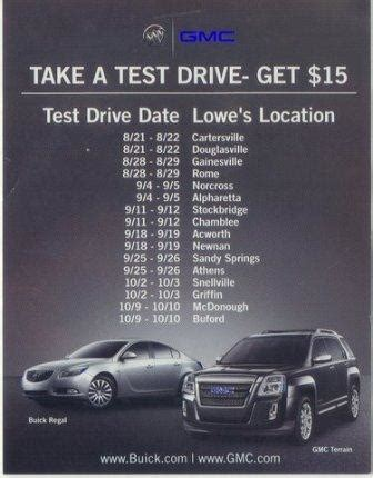 lowes buford folks test drive a buick gmc for a 15 lowe s