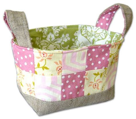 Patchwork Basket - patchwork fabric basket tutorial free sewing patterns