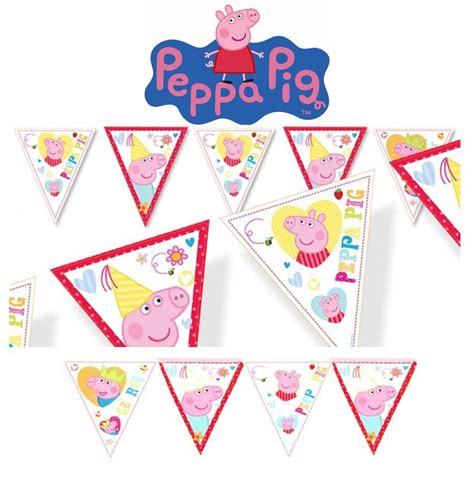 Peppa Pig Flag Birthday peppa pig bunting banner 10 flag birthday