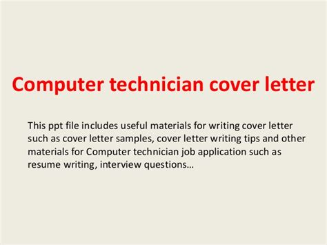 Laptop Technician Cover Letter by Computer Technician Cover Letter