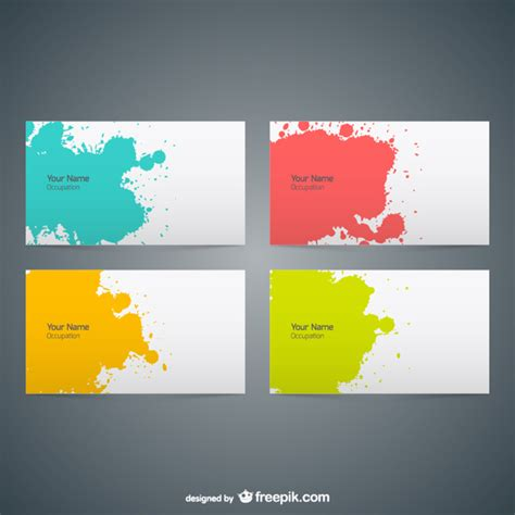 card templates for paint net paint splashes business card vector free