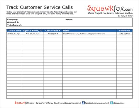 service call template worksheet track your customer service calls to save money