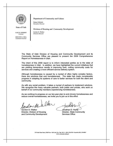 Fundraising Letter For Homeless Shelter Utah 2009 Comprehensive Report On Homelessness