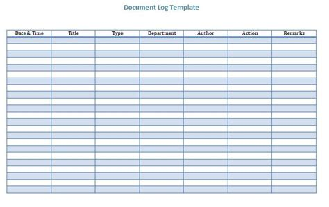 controlled log template document version log templates