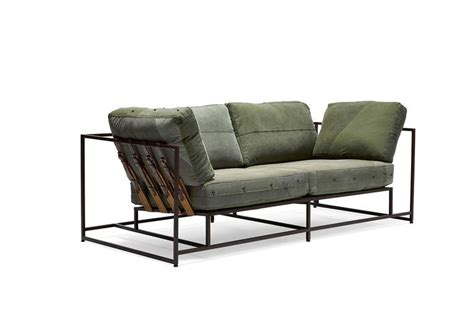 sofa military vintage military canvas and marbled rust two seat sofa for