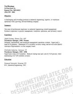 warehouse manager resume template work experience skills