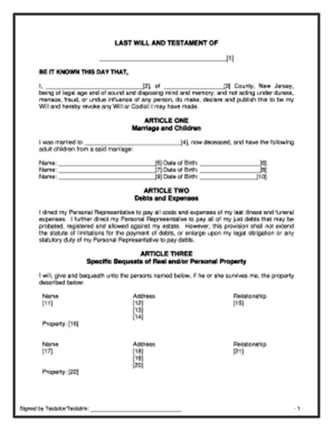 Bill Of Sale Form Minnesota Last Will And Testament Form Templates Fillable Printable Last Will And Testament Template New Jersey