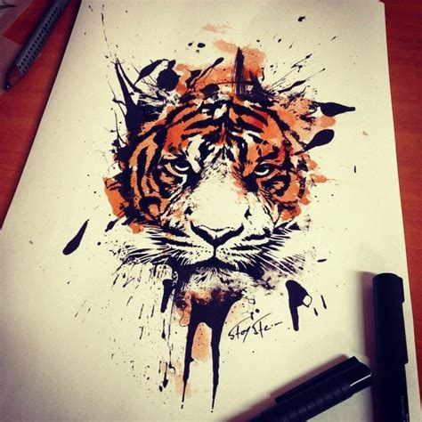 watercolor tattoo vienna tiger design by stoy pinteres
