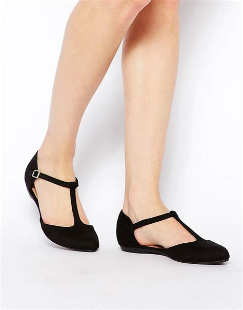 new look new look jupiter black t bar flat shoes at asos