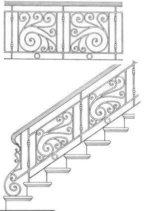 Stair Railing Designs ISR204 | Gates | Wrought iron stair