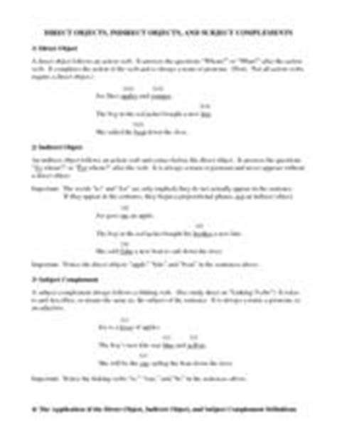 Complements Of 10 Worksheets by Direct Objects Indirect Objects And Subject Complements