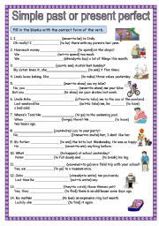 esl worksheets for beginners simple past or present perfect