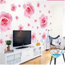 home decor 3d big pink roses flowers vinyl wall stickers home decor diy