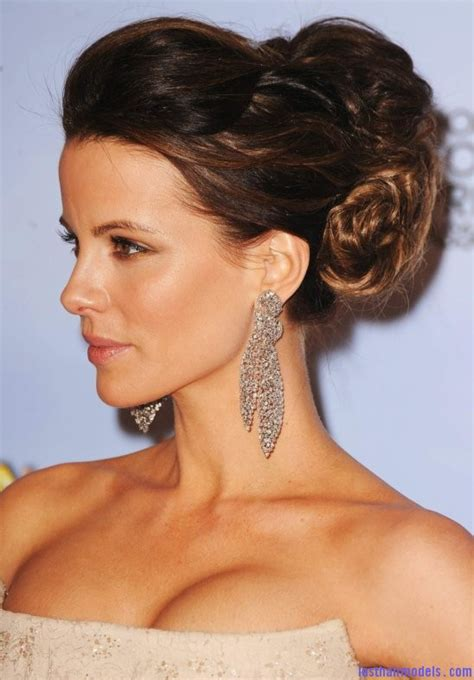 updo for thick neck kate beckinsale s bun messy thick updo last hair