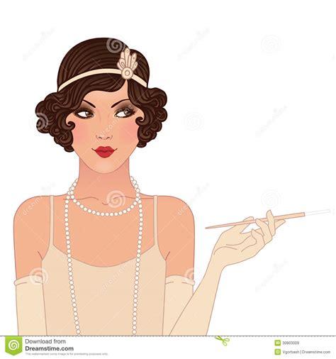 beautiful cartoon women art flapper girls set young beautiful woman of 1920s vintage