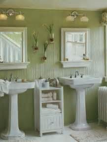To the beadboard walls and paired with crisp white trim and accents