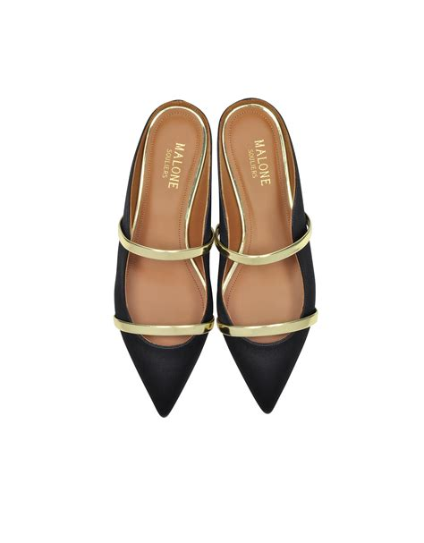 Flatshoes Heels Malone Souliers Maureen Leather Mules Kw Mirror lyst malone souliers maureen flat black satin an mirror platinum nappa leather mules in black
