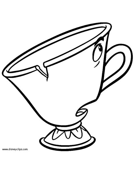 chip beauty and the beast coloring pages beauty and the beast printable coloring pages 3 disney