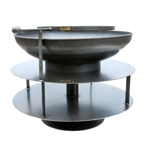 swing arm grill ring of logs firepit including swing arm