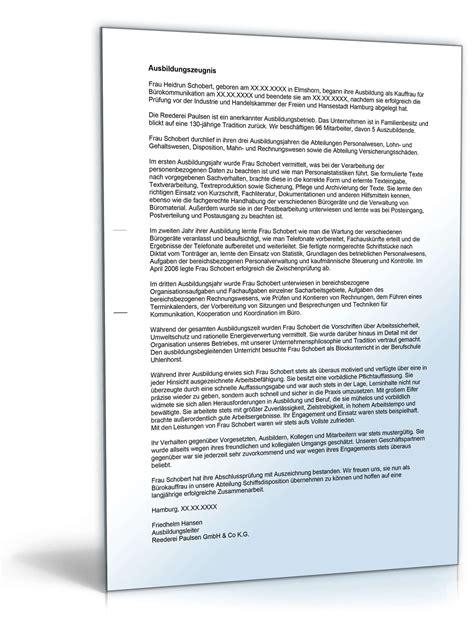 Leistungsbeurteilung Praktikum Vorlage ausbildungszeugnis b 252 rokauffrau note eins vorlage zum