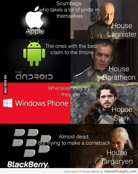 dead phone meme of thrones families and their mobile phone