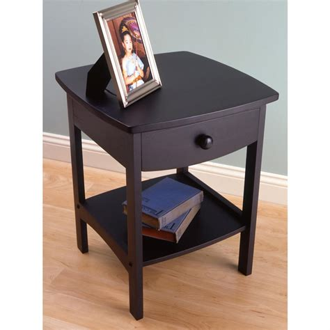 Curved Nightstand End Table Winsome Black Curved End Table Stand 150987 Living Room At Sportsman S Guide