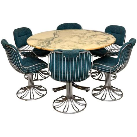 Retro Dining Table And Chairs Retro Marble And Chrome Dining Table With Six Chrome Swivel Chairs 1960s At 1stdibs