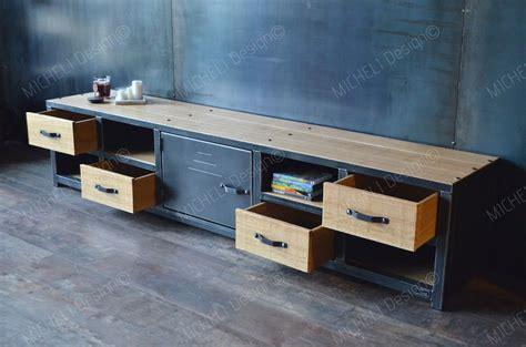 Meuble Tv 200 Cm by Meuble Tv M 233 Tal Bois 200 Cm De Style Industriel Et Sur