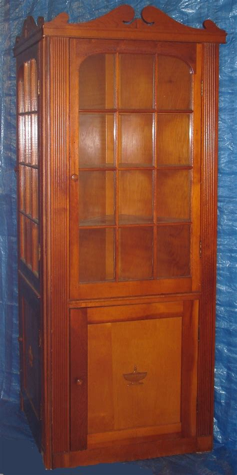 Corner Cabinet Glass Doors Pine Corner Cabinet Pair 3 Shelf 12 Panel Glass Doors Made Mid Century Vintagetoys
