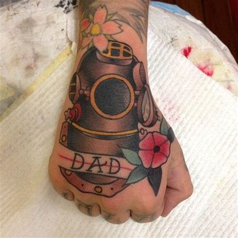 badass hand tattoos explore the depths with these 18 diving helmet tattoos