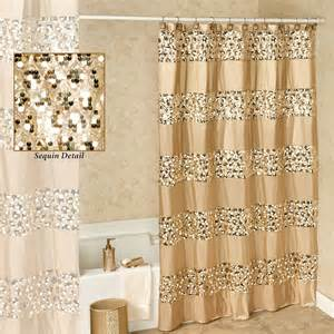 prestigue chagne gold sequined shower curtain