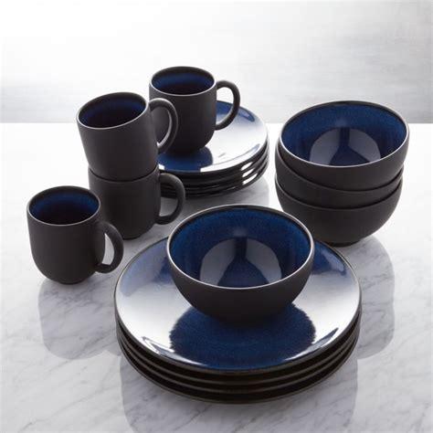 jars tourron blue  piece dinnerware set reviews crate  barrel