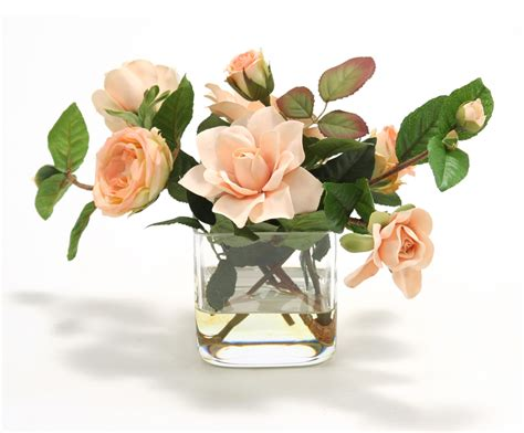 waterlook 174 peach roses and peach gardenias in 4 square