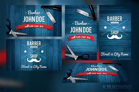 Barber Business Card Template Business Card Templates On Creative Market Free Barber Business Card Template