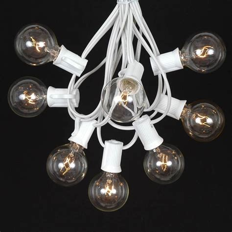 clear globe string lights white wire 100 clear g40 globe outdoor string light set on