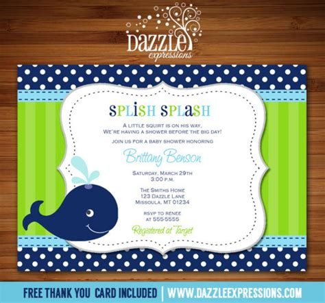 Blue Whale Baby Shower Invitations by Printable Blue And Green Preppy Whale Baby Shower Invi