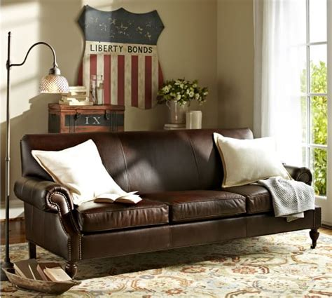 brooklyn leather sofa brooklyn leather sofa pottery barn