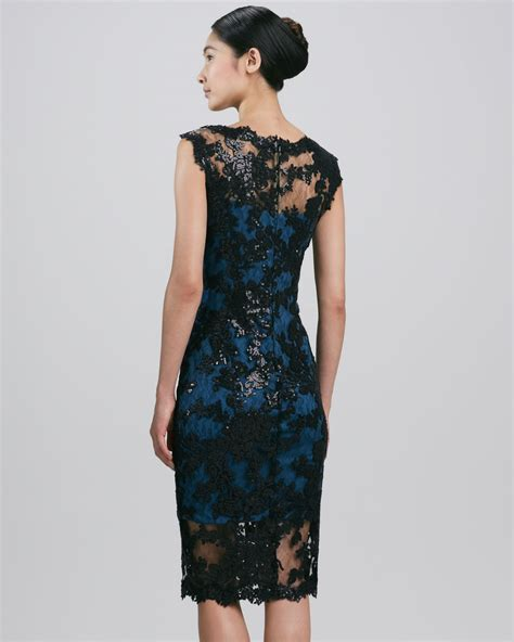 Sleeveless Lace Cocktail Dress lyst tadashi shoji sleeveless scalloped lace cocktail