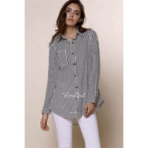 Collar Longsleeve chic shirt collar sleeve striped s shirttops
