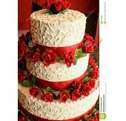 Torta De Boda Con Rojo Fotos Archivo  Imagen 6755883