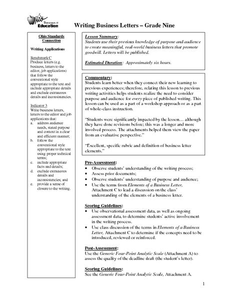 Business Letter Lesson Business Letter Lesson Plan Esl Cover Letter Templates