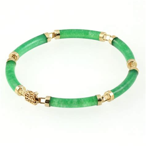 And Bracelet 9ct yellow gold tubular jade bracelet from mr harold and jewellery uk