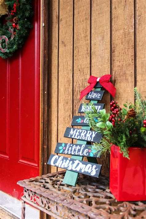 hand painted christmas tree sign domestically creative