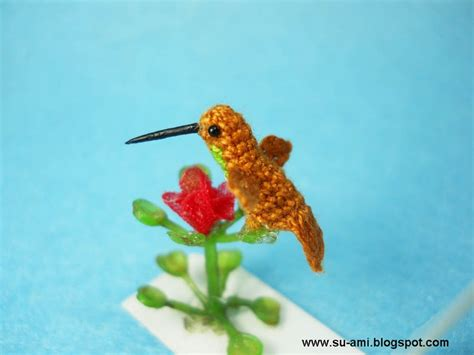 miniature hummingbird teeny tiny crochet birds
