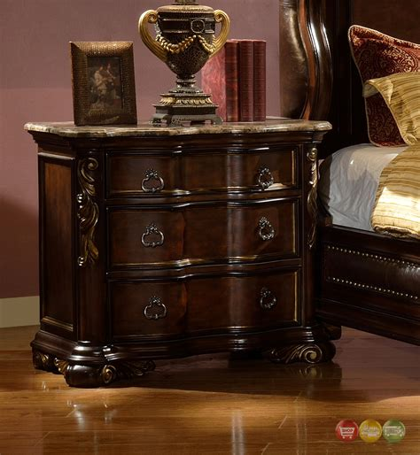 Marble Nightstand by Imperial Traditional Concave 3 Drawer Marble Nightstand In