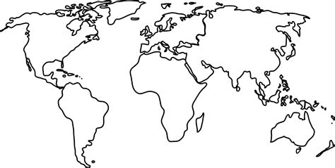 World Map Country Outline by Clipart World Map