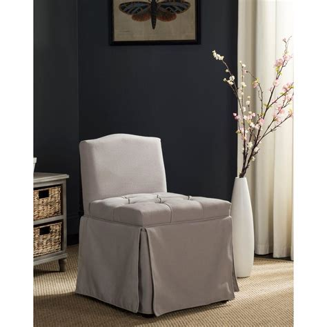safavieh betsy taupe linen vanity stool mcr4202a the home depot